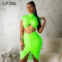 Wholesale two pieces short bodycon dresses for sale - Group buy Neon Green Yellow Sexy Two Piece Set Women Turtleneck Short Sleeve Crop Top Pleated Bodycon Dress Tracksuit Piece Club Outfit