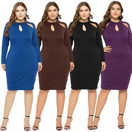 vestidos casuais femininos venda por atacado-Plus Size Women s Summer Manga Longa Hollow Out Dress O Neck Sexy Sexy Bodycon Dress Casual Sundress Tops Plus Tamanhos FP3402