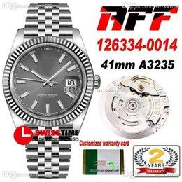 AFF 41MM ETA A3235自動メンズウォッチフルートベゼルグレーダイヤルスティックマーカー904Lスチールケースブレスレットスーパーエディション同じシリーズ保証カードSWSSTIME D4