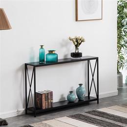 Muebles de sala de estar Tablero de triaminas Cross Hierro Marco Porche Sofá Mesa auxiliar Grano de madera negro en venta