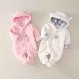 Discount baby born clothes boy New Born Baby Clothes Cartoon Fleece Warm Baby Girls Romper Jumpsuit Soft Pajamas Romper For Baby Boys Hooded Infant Clothing Q0201