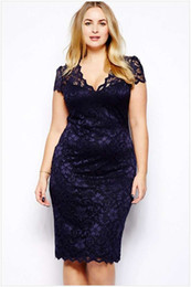 Wholesale shift dress plus resale online - Womens clothing ladies Blue Lace shift pencil Formal Prom Dress Cocktail Ball Evening Party sexy plus big size Dress