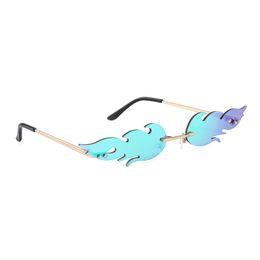 Wholesale Fire Shape Sunglasses Fashion Women Smaill Size Frameless Cat Eye Mirror Sun Glasses for Lady Female Brand Designer