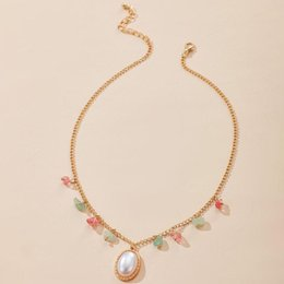 hot pink choker necklace 2021 - Hot Fashion Long Pink hearts Pearl Necklaces Diamond-studded multi-layered clavicular chain Women Choker Love Hearts Jewelry A5230