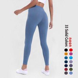EUOOKA SOLID FÄRG KVINNOR YOGA Byxor Högt midja Sport Gym Wear Leggings Elastic Fitness Lady Övergripande Full Tights Workout Size XS-XL