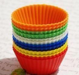 7см силикагель-гелевые лайнеры выпечки плесень силиконовые булочки чашки выпечки чашки торт чашки кекс мульти на Распродаже