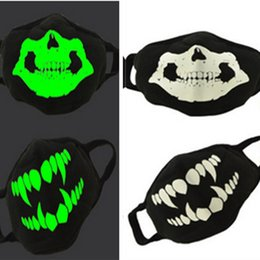 skeleton mask half face UK - Luminous Unisex Halloween Party Masks Night Scary Skeleton Light in Dark Cover Dustproof Skull Half face Mask 16 Color D