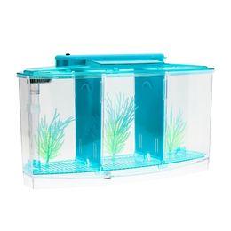 Wholesale Senzeal Transparent Acrylic Fighting Fish Tank Triple Cube Aquarium Led Lighting Dimmable Betta Separate Breed qylZvu bde_luck