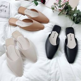 Womens shoes South Koreas new retro low-heeled Baotou semi-slippers lazy pointed mules with flip-flops1 on Sale
