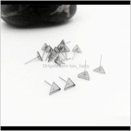 Discount stainless steel ring base 100Pcslot Stainless Steel Triangle Ear Studs Earring Base Cabochon For Earrings Making Crafts Fashion Whole Sale Jjlgm Jewelry Setting Kiepd