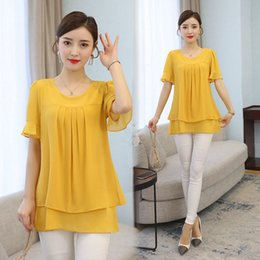 Wholesale beautiful short blouses resale online - 2020 Summer obesity Mid length Chiffon Blouse Plus Size XL Women Short sleeve Beautiful Self cultivati Shirt blouse Show thin