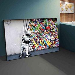 Street Banksy Graffiti за занавески на холсте Картины Cuadros Настенные картинки для домашнего декора (без кадра) на Распродаже