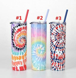 stainless steel tumbler holder UK - Tie Dye Stainless Steel Cup 20oz Slim Tumbler With Straw Heat Perservation Travel Gift Water Holder Sea Shipping WWA241