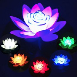 Discount lights float water Artificial Float Flower Light LED Colorful Lotus Waterproof Fake Pond Lotus Leaf Lily Water Lantern Festival Decoration Light