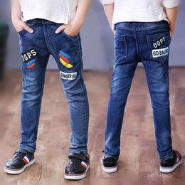 boys jeans sizes UK - Kids Boys Stertch Jeans Spring Autumn Long Pants Young Boy Straight Denim Trousers Baby Cowboy Pants Plus Size
