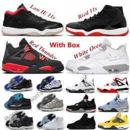 Nieuwe 11 Bred 11s Mannen Basketbal Schoenen 4 4S Red Thunder Cool Gray Low IE White Oreo Lightning Fire Black Cat Legend Concord Gamma Blue Space Jam 2021 Sneakers Cement UNC 3 3S