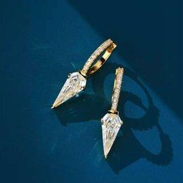 HBP Light luxury S925 silver punk ins wind inlaid diamond earrings design feeling long shield for women on Sale