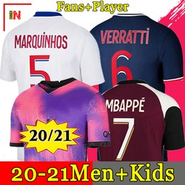 20 21 high Thai quality soccer jersey MBAPPE VERRATTI MARQUINHOS KIMPEMBE DI MARIA KEAN football Jersey soccer tops men shirt and kids sets on Sale