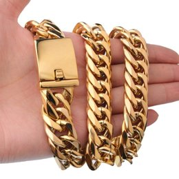 gold chain designs boy Canada - Design Mens Chain 16mm Heavy Gold Tone 316L Stainless Steel Double Curb Link Rombo Boys Necklace Wholesale Gift Chains