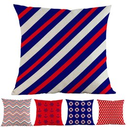 Discount linen cushion geometric patterns Red And Blue Style Voyage Sea Anchor Life Buoy Geometric Dots Pattern Linen Throw Pillow Case Home Sofa Decoration Cushion Cover Cushion Dec