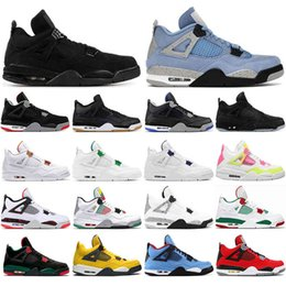 mens rubber net shoes UK - 2021 4s Basketball Shoes jumpman 4 Mens Trainers Sneakers White Oreo Sail Red Thunder University Blue Travis Taupe Haze Sports Shoe