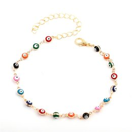 2021 Bohemian Colorful Evil Eye Beads Anklets For Women Gold Silver Color Summer Ocean Beach Ankle Bracelet Foot Leg Chain Jewelry 344 Q2 on Sale