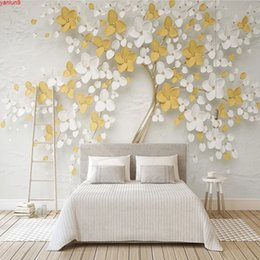 Discount trees 3d wall mural Custom Photo Wallpaper 3D Stereoscopic Embossed Flower Tree Art Mural Wall Painting Wallpapers For Living Room Floral Papergood quatity