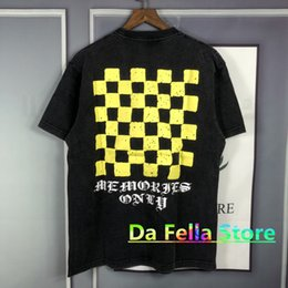fluorescent t shirts men UK - Askyurself Yellow Checkerboard T-shirt Men Women Washed Old Vintage Fluorescent Askyurself Tee Graphic Letter Short Sleeve
