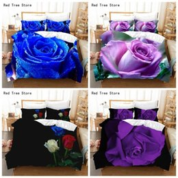 Discount couples bedding sets Luxury Blue Purple Rose Printed Bedding Set 3D Flowers Pattern Duvet Cover Bedspread 220x240 King Queen Size For Adult Couples Sets