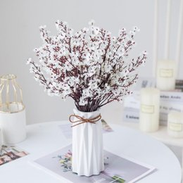 small vases for flowers 2021 - Pink Silk Gypsophila Artificial Flowers Small Bunches 5 Forks 30CM Living Room Decoration Fake Plants Vase For Home Wedding Decorative & Wre