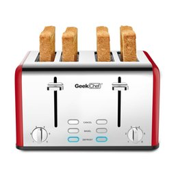 Wholesale Red slice toaster,retro stainless steel,extra wide slots,defrost, cancel function, 6 browning settings
