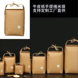 100 pcs Nouveau produit Riz Papier Emballage / Thé Emballage Sac / Sac en papier Kraft Rangement des aliments Papier debout 431 S2 en Solde