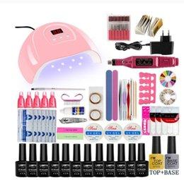venda por atacado Nail Set UV LED Lâmpada Secador com 12 pcs Gel Kit Polonês Aproxime as ferramentas de manicure Set Elétrico Nail Ferramentas de Arte