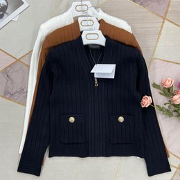 Wholesale striped cardigan sweater black white for sale - Group buy 325 Spring Summer Brand Same Style Sweaters High Quality V Neck Print Regular Long Sleeve Cardigan White Black Khaki Women Clothes Striped Sweater kf