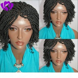 micro braided wigs UK - 1b black brown micro braiding with curly tips synthetic lace front wigs short twist braided lace wig heat resistant fiber hair for woman