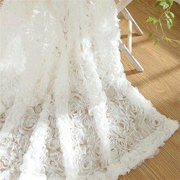 Venta al por mayor de Princesa coreana estilo blanco Rose ventana cortinas apagones para la sala de estar chicas sala de ropa de cama cotinas para sala decorativo 327 R2