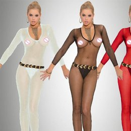 Wholesale womens fetish costume resale online - Women Sexy Womens Jumpsuits Club Bodysuit Crochless Bodystocking Open Crotch Fetish Porno Sexi Teddy Erotic Baby Doll Costumes