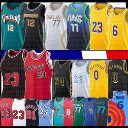 Großhandel Luka 77 JA 12 Morant Doncic Russell 0 Westbrook Basketball Jersey Los 23 6 Angeles Scottie Pippen Dennis 33 91 Rodman Anthony 3 Davis Kuzma 41 Dirk Nowitzki Space Jam 2