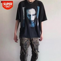 streetwear men High version European and American fashion brand Marilyn Manson T-shirt Asap Rocky street hip-hop short-sleeved #6P1b
