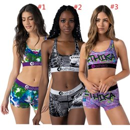Discount breast pads Fashion Women Swimwear Trendy Letter Design Swimsuit Summer Push Up Bra Tops Vest + Shorts 2 Piece Outfits Quick Dry Tracksuit Sports Suit