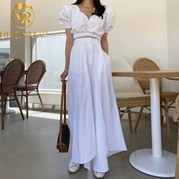 Wholesale v neck leg dress for sale - Group buy Two Piece Set Women V Neck Puff Short Sleeve Casual Tops High Waist Split Wide Leg Pants Suits Female Dress