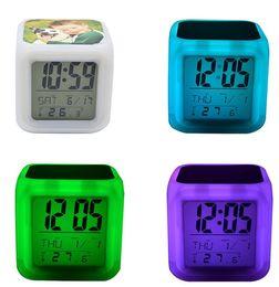 Wholesale LED Table Clocks Sublimation Blanks Glow Electronics Square Bedroom Colorful Alarm Reminder Clock Children 8 Kinds Of Ringtones WWA284