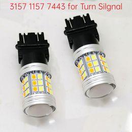 Ingrosso T25 3157 1157 7443 LED Bulb Bulb Auto Direzione del segnale Brake Dual Color Light 45SMD 2835LED AUTO GUIDA GUIDA LAMPADURA 12V Bianco Giallo