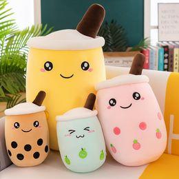24cm Cute Fruit Drink Stuffed Soft Pink Strawberry Milk Plush Boba Cup Toy Bubble Tea Pillow Cushion Kids Gift