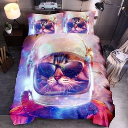 Wholesale Blue Bubbles Galaxy Cats Printed Duvet Cover with Pillowcases 3D Animal Cat Dog Printing Quilt Set Queen King Size Bedding Sets