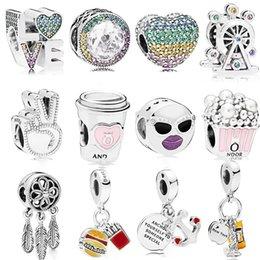 Yeni 925 Ayar Gümüş Göz Kamaştırıcı Pembe Kelebek Kalp Zirkonya Boncuk Fit Orijinal Charms Pandora Bilezik Boncuk DIY Takı Yapımı