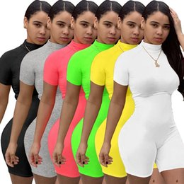 boquetes de macacão sexy do clube nocturno venda por atacado-Mulheres Sexy Maciã Zíper Meio Turtleneck Jumpsuits Manga Curta Shorts Sports Fitness Bodysuits Nightclub Onesies Plus Size Roupas