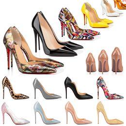 2021 Röda Bottom Heels Skor Så Kate Mode Kvinnor Läder Klänning Stiletto Peep-Toes Sandaler Högklackplattform Designer Peka Tå Pumpar Loafers Gummi 35-42