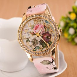 Discount new vogue patterns Fashion Women Clock Rhinestone Flower Patterns Dress Watches Female Hour Leather Blossom Rose Lady Analog Quartz Vogue Wristwatch