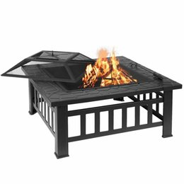"""32"""" Outdoor Garden Fire pit BBQ Grill Stove Heater Patio Metal Table"""